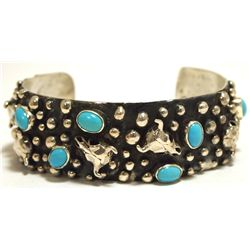 Navajo Turquoise Sterling Silver Cow Skulls Cuff Bracelet - Emer Thompson