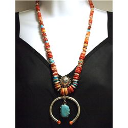 Navajo Spiny Oyster & Turquoise Sterling Silver Necklace - Heidi MC