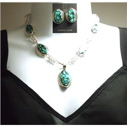 Zuni Spider Web Turquoise Sterling Silver Necklace & Earrings Set - Ric Laselute