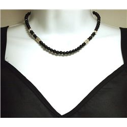 Navajo Onyx Sterling Silver Necklace - Tommy Singer