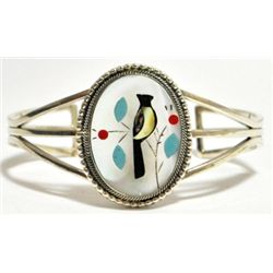 Zuni Multi-Stone Inlay Bird Sterling Silver Cuff Bracelet - Running Bear