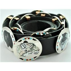 Zuni Multi-Stone 15-Animal Sterling Silver Concho Belt - Dale Edaakie