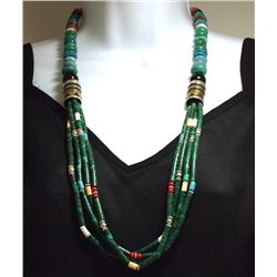 Navajo 4-Strand Malachite & Multi-Stone Necklace - Tommy Singer