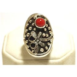 Navajo Coral Sterling Silver Dragonfly Women's Ring - Shakey
