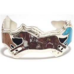 Navajo Multi-Stone Inlay Sterling Silver Horses Cuff Bracelet - Francis