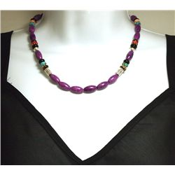 Navajo Sugilite & Multi-Stone Sterling Silver Necklace - Tommy Singer