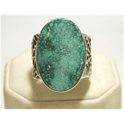 Navajo Kingman Turquoise Sterling Silver Tufacast Men's Ring - Philander B Begay
