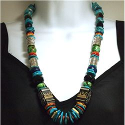 Navajo Turquoise Heishi & Multi-Stone Necklace - Richard Singer