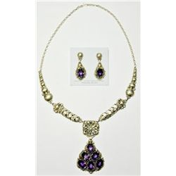 Navajo Amethyst Necklace & Earrings Set - Clem Nalwood