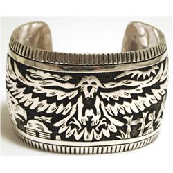 Navajo Sterling Silver Eagle Large Cuff Bracelet - Richard Singer