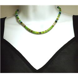 Navajo Gaspeite Green Turquoise & Multi-Stone Sterling Silver Necklace - Tommy Singer