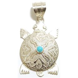 Navajo Turquoise Sterling Silver Turtle Pendant - Alonzo Mariano