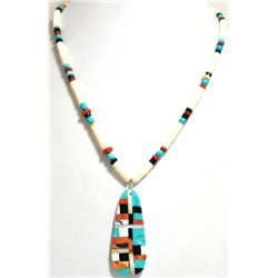 Santo Domingo Multi-Stone & Shell Heishi Necklace - Delbert & Torevia Crespin