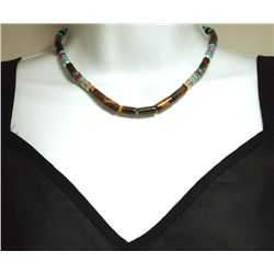 Navajo Tiger's Eye & Multi-Stone Sterling Silver Necklace - Tommy Singer