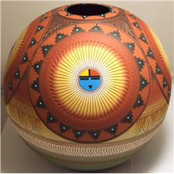 Navajo Etched & Painted Sun Face Pottery - Lori Smith