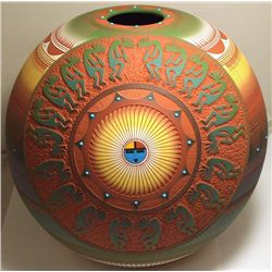 Navajo Etched & Painted Sun Face & Kokopelli Pottery - Lori Smith