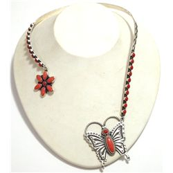 Navajo Coral Flower & Butterfly Sterling Silver Collar Necklace - Herman Smith