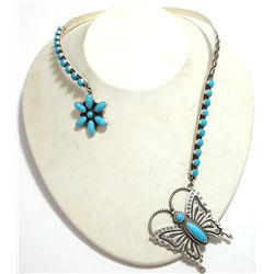 Navajo Turquoise Flower & Butterfly Sterling Silver Collar Necklace - Herman Smith