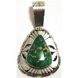 Navajo Broken Arrow Turquoise Sterling Silver Pendant - Eugene Belone