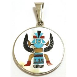 Zuni Multi-Stone Inlay Knifewing Kachina Sterling Silver Pendant - Harlan & Monica Coonsis