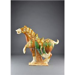 Chinese Tang-Style Sancai Pottery Horse