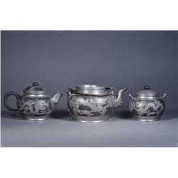 Chinese Yixing Tea Pot Set Pewter Inlay Marked