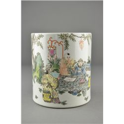 Chinese Enameled Porcelain Brush Pot