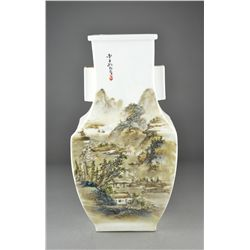 Chinese Republic Enameled Porcelain Hu-Shaped Vase