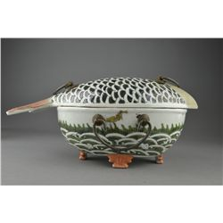 Antique Chinese Porcelain Fish Bowl with Lid