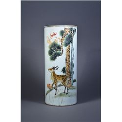 Chinese Porcelain Hat Stand Deer Motif