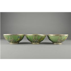Set Three Chinese Bowls Wrapped Tibetan Silver