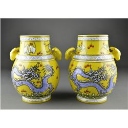 Pair of Chinese Hu-Shaped Vases Handles Qianlong