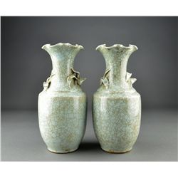 Pair of Chinese Crackle Glaze Foliate Vases