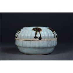 Chinese Celadon Box with Black Glazed Spots