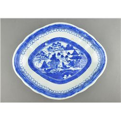 Chinese Qing Export Blue & White Foliate Bowl