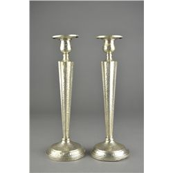 Pair of English Sterling Silver Candleholders