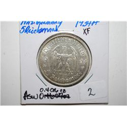 1934-A German 5 Reichsmark Foreign Coin; XF; 0.4016 ASW; EST. $20-30