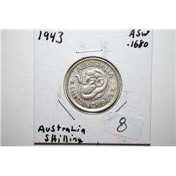 1943 Australia Shilling Foreign Coin; .1680 ASW; EST. $10-20
