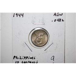 1944-D Philippines 10 Centavos Foreign Coin; .0482 ASW; EST. $5-10