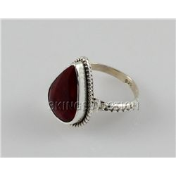 27.98ctw Sterling Silver PearCut Ruby Beryl Ring