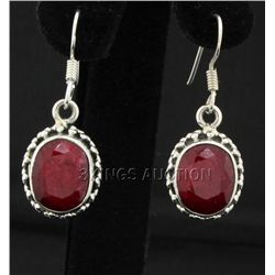 Sterling Silver 36.14ctw Oval Ruby Beryl Earring