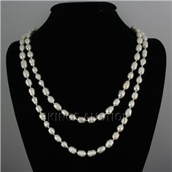 "461.01CTW 46"" WHITE LONGSTRAND FRESHWATER PEARL NECKLAC"