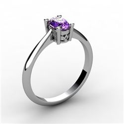 Amethyst 0.45 ctw Ring 14kt White Gold