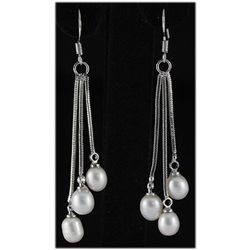 Natural 4.39g Freshwater Dangling Silver Earring