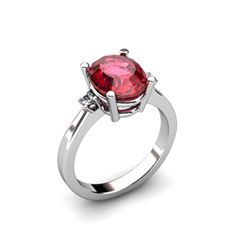 Garnet 2.80 ctw Diamond Ring 14kt White Gold