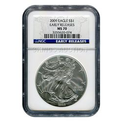 Certified Uncirculated Silver Eagle 2009 MS70 NGC Early