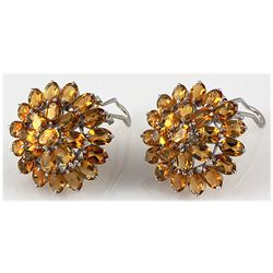Citrine 40.80 ctw Flower Design Earring 0.925 Silver