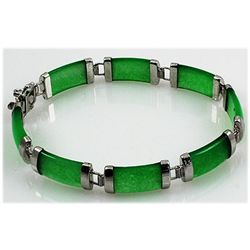 11.45g Apple Green Jade Sterling Silver Bracelet
