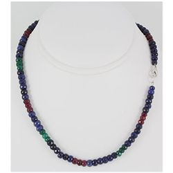 174.63ctw Natural Multi-Color Rondelles Necklace
