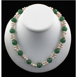 "308.5CTW 18"" GREEN FRESHWATER PEARL WITH CORAL NECKLACE"